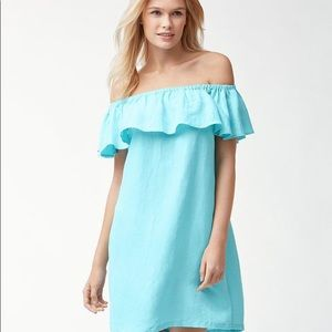 {TOMMY BAHAMA} aqua linen off the shoulder dress